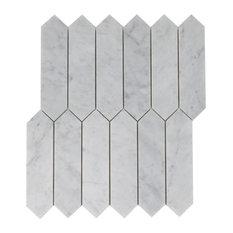 Carrara White 2x8 Polished Elongated Hexagon Mosaic, 10 Sheets