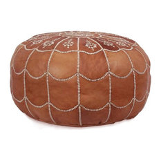 Full Arch, Moroccan Pouf Ottoman Leather, Rustic Brown, Un-Stuffed