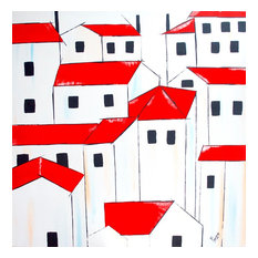 Landscape Original Wall Art, Red Roofs