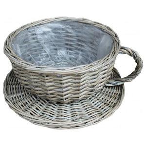 Antique Wash Tea Cup Wicker Basket