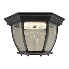Canterbury II LED Outdoor Ceiling Light, Clear Beveled Glass, Black