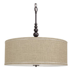 "Kira Home - Kira Home Adelade 22"" Chandelier, Sand Fabric Drum Shade, Glass Diffuser - Chandeliers"