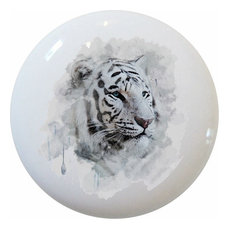 White Tiger Head Watercolor Ceramic Cabinet Drawer Knob