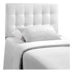 Lily Twin Tufted Faux Leather Headboard, White