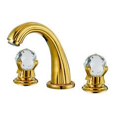 Fontana Showers   Milan Deck Mounted Gold Crystal Dual Handles Bathroom  Faucet   Bathroom Sink Faucets