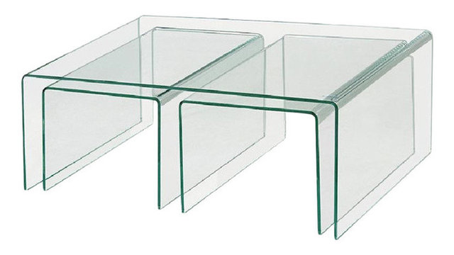 Clear bent glass nest tables 38 thick 3 pieces contemporary clear bent glass nest tables 38 thick watchthetrailerfo