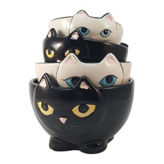 Pacific Giftware - Black and White Cats Nesting Ceramic Measuring Cup , Set of 4 - Measuring Cups