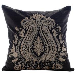 Zardozi Indian Paisley Gray Velvet 55x55 Cushion Cover, Magestic Gold