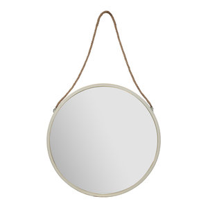 """30"""" Round Metal Wall Mirror With Rustic Hanging Rope"""