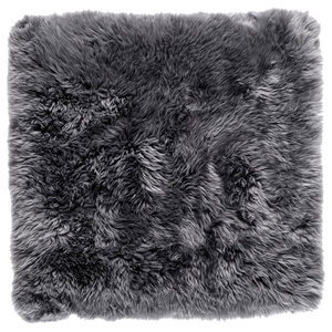 Square New Zealand Sheepskin Rug, 70x70 cm, Grey