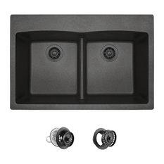 T812 Topmount Double Bowl Quartz Kitchen Sink, Black, Colored Strainer/Flange