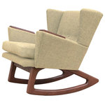 Lewis Interiors - Mid Century Modern Handcrafted Rocking Chair Wingback Rocker Oatmeal Tan Beige - A twist on one of our most popular mid century modern chairs, our Short Back Rocker (SBR) chair is absolutely fabulous in every way!  Featuring a low back club style mid century inspired design, this designer rocking chair is a showcase piece for any collection, and will be the centerpiece in any room of your home. This is NOT your grandmother's rocking chair!  With Lewis Interiors behind you, you can finally move beyond mass produced mid century modern chairs by opting instead for your own handcrafted piece of modern retro Americana. In this regard, our SBR chair is as unique and timeless as you are!