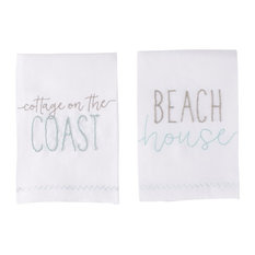 Beach House and Cottage on Coast French Knot Guest Hand Towels, 2-Piece Set
