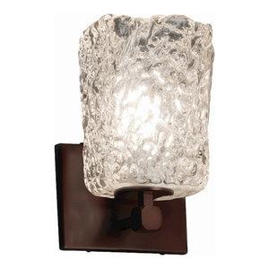 Justice Design Ven Luce Tetra 1-Light LED Sconce, Clear Textured/Dark Bronze