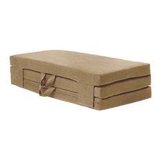 Futon Guest Mattress, Polyester, Carry Handles, Modern Design, Double, Sand