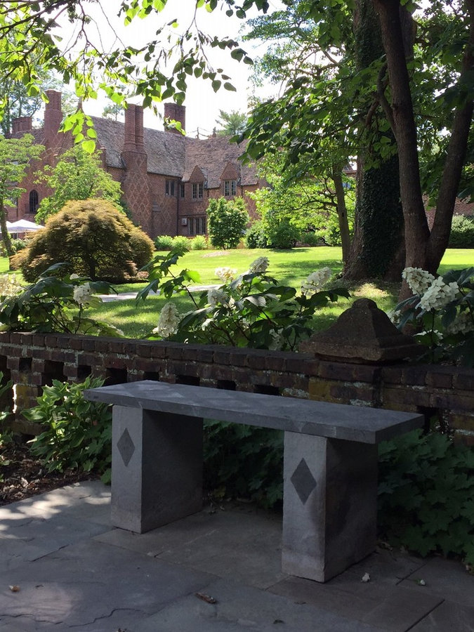 Public Art: Bluestone Bench- The Aldie Mansion is the backdrop for the bench it