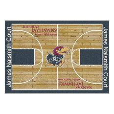 "Kansas University Basketball Court Rug, 5'4""x7'8"""