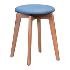 Indoor Billy Accent Stool With Walnut and Ink Blue Finish 101012