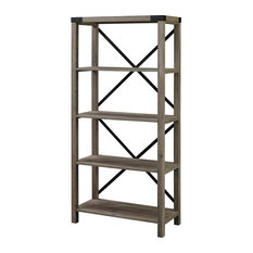 Industrial Bookshelf Four Fixed Shelves With Metal X Back Accent Grey Wash