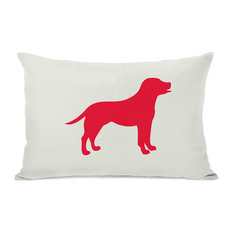 """""""Lab Silhouette"""" Indoor Throw Pillow by OneBellaCasa, Red, 14""""x20"""""""