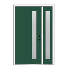 """51""""x81.75"""" 1-Lite Frosted Left-Hand Inswing Fiberglass Door With Sidelite"""