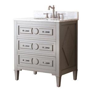 31 in. Single Sink Vanity in Grayish Blue Finish