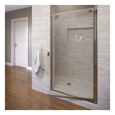 """Basco Shower Enclosures - Armon 31.75-33.25"""" Semi-Frameless Pivot Shower Door, Clear Glass, Chrome - Shower Doors"""