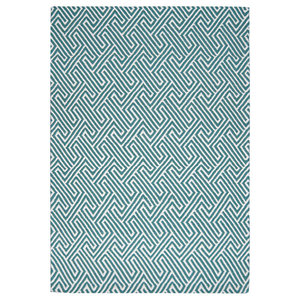 Maisey Rug, White and Teal, 120x170 cm