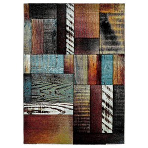Naia Wood Panel Effect Rug, 200x290 cm