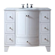 "Stufurhome 40"" Grand Cheswick White Single Sink Vanity"