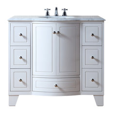 "Stufurhome 40"" Grand Cheswick White Single Sink Vanity"