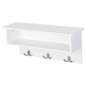 Contemporary Wall Mounted, White Painted MDF With Shelves and 3 Double Hooks