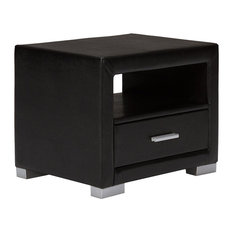 Faux Leather Bedside Table, Black