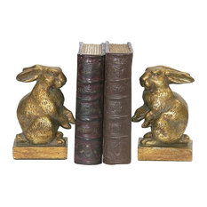 Bookend Baby Rabbit Bookends In Antique Gold and Brown, Pair