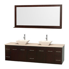"""Wyndham Collection - Wyndham Collection Double Bathroom Vanity Set, Espresso, Ivory Marble, 80"""" - Bathroom Vanities and Sink Consoles"""