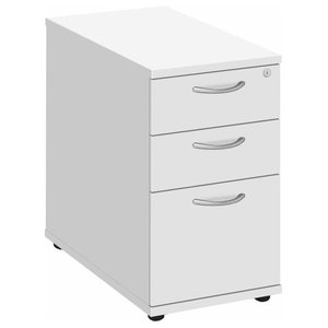 Modern Chest of Drawers, Solid Wood With Large Drawer and 4-Castor Wheel, White