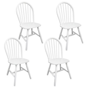 vidaXL Set of 4 Wooden Dining Chairs, Round, White