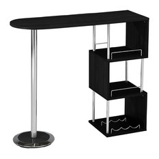 Chrome Finish Bar Table With Storage Shelves, Black and Chrome