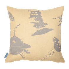 "PaperBoy Interiors ""The Final Frontier"" Cushion, Yellow and Grey"
