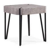 Dani Square End Table with Black Metal Legs & Light Gray Concrete Finished Top