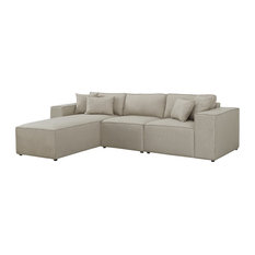 Harvey Sectional Sofa with Reversible Chaise in Beige Linen
