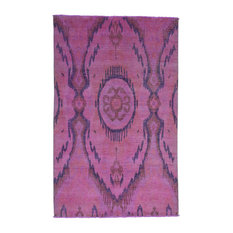 Overdyed Ikat 100 Percent Wool Hand-Knotted Oriental Rug