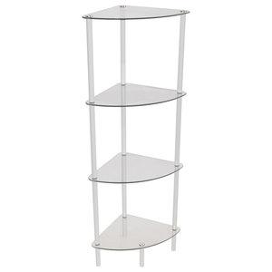 Corbin Glass Corner Display Shelf, White, 4-Tier