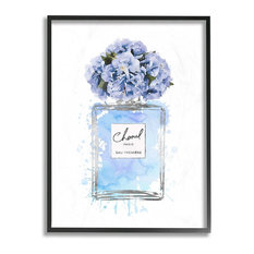 "Blue Flowers Perfume Bottle Watercolor Framed Giclee Texturized Art, 11""x14"""