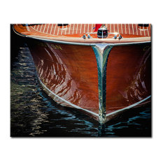 "Boat Bow, Classic Wooden Cruiser Canvas Art, Color Photography, 16""x20"""