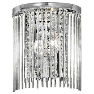 Charisma Double Wall Light, Chrome and Crystal Glass