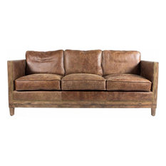 "Darlene 72"" Leather Sofa, Brown"
