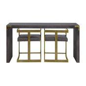 3-Piece Console Table and Stool Set, Estate Antique Gray