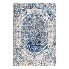 "Modern Persian Boho Vintage Cream and Blue 3'x5' Area Rug, 5'3""x7'7"""