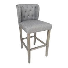 Wellington Contemporary Wood/Linen Barstool - Gray Linen